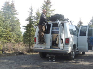 The back of a Northwest Van Campers Alaskan Camper Van